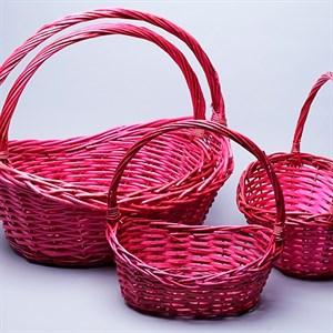 Набор корзин плет ива 48*37*42см 4шт розовый