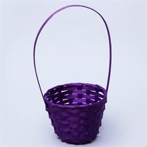 Корзина плетеная бамбук 13*9,5 28см фиолетовый