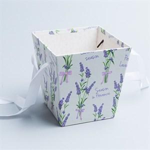 Коробка для цветов Трапеция 15*14,5*11см лаванда на белом