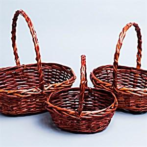 Корзина плетеная ива 21*16*9*22см 3шт коричневый