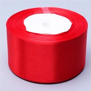 Лента атлас 50мм х 25 ярд красная