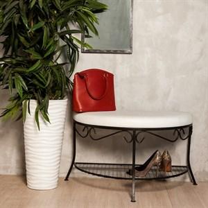 Пуфик обувница металлическая черная с белым сиденьем 303-23