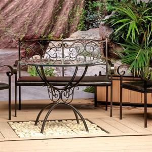 Диван кованый черный с мягким сиденьем 941-13