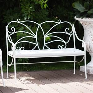 Диван кованый белый с мягким сиденьем 941-11