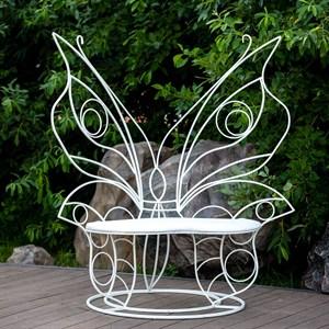Диван кованый белый с мягким сиденьем Бабочка 941-14