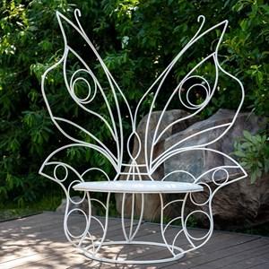Кресло кованое белое бабочка 303-33
