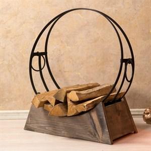 Дровница круглая металлическая на деревянной подставке 500-34