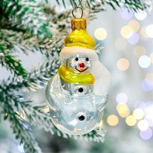 Игрушка ёлочная Снеговик веселый стекло