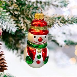 Игрушка ёлочная Снеговик нарядный 8,5см