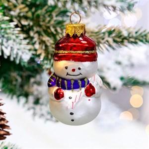 Игрушка ёлочная Снеговик с тростью 8см