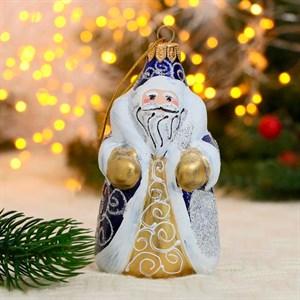 Игрушка ёлочная Дед Мороз снежинки ручная роспись 13см