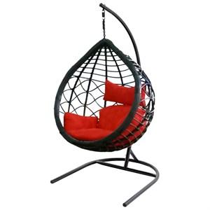 Кресло подвесное Вирджиния D3414-МТ002 черное с красными подушками
