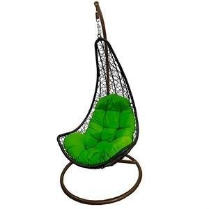 Кресло подвесное Грэйс New #21 черное с салатовой подушкой