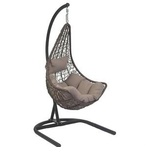 Кресло подвесное Грэйс D48 коричневое с серой подушкой