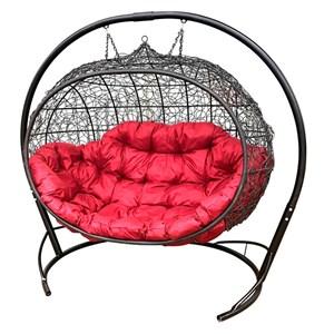 Кресло подвесное двойное Улей MG5-МТ001 коричневое с красной подушкой