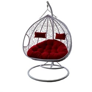 Кресло подвесное двойное Феникс N-876/1 белое с красной подушкой