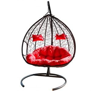 Кресло подвесное двойное Феникс CN200-МТ чёрное с красной подушкой