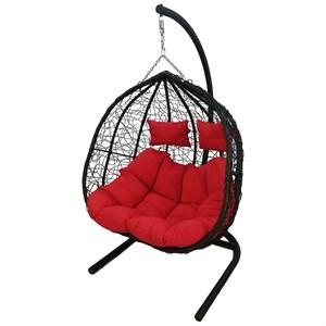Кресло подвесное двойное Фиджи Prime D55-МТ003 чёрное с красной подушкой