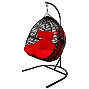 Кресло подвесное двойное Фиджи D55-МТ002 сёрное с красной подушкой