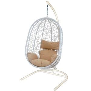 Кресло подвесное Кокон XL D52-МТ002 белое с бежевой подушкой