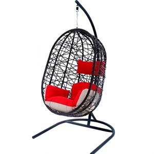 Кресло подвесное Кокон XL D52-МТ003 тёмно-коричневое с красными и бежевыми подушками