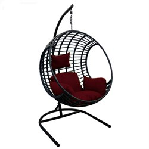 Кресло подвесное Лондон D35B-МТ003 чёрное с бордовой подушкой