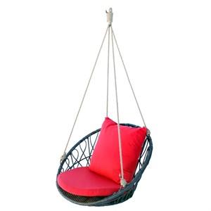 Кресло подвесное Майорка М455-МТ001 коричневое с красной подушкой