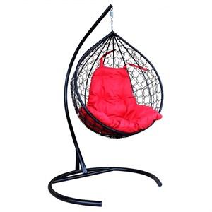 Кресло подвесное Орион D160-МТ001 чёрное с красной подушкой