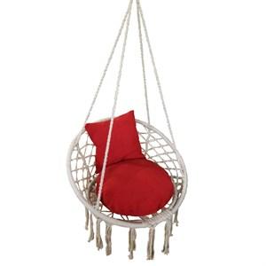 Кресло подвесное Фиби ZRHC30-B белое плетёное с красной подушкой