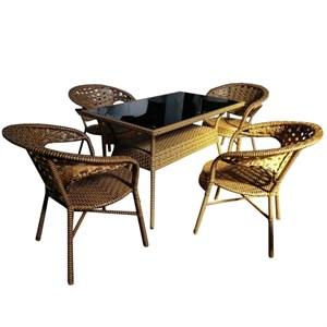 Набор мебели Монреаль-2 New черный, коричневый Garden story T-462/М, у-461