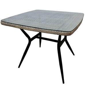 Стол к набору Эмилия (каркас бежево-серый, столешница тонированная) Т-542