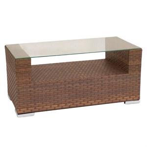 Стол к набору Гранд G002 (ротанг коричневый, столешница прозрачная)