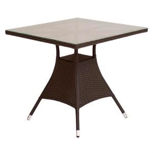 Стол к набору Верона V006 квадратный (ротанг коричневый, столешница прозрачная)