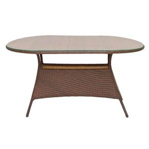 Стол к набору Верона V004 овальный (ротанг коричневый, столешница прозрачная)