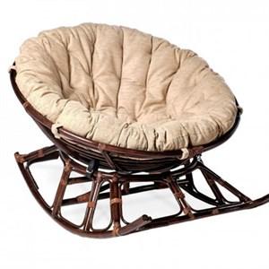 Кресло-качалка на полозьяx Папасан xарли D100  НР100-МТ001 коньячный, бежевый