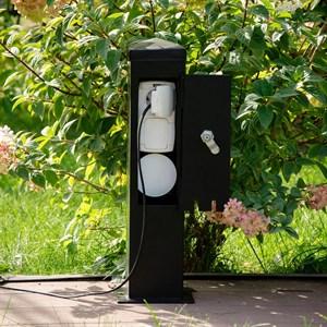 Розетка садовая для подключения трех приборов с дверцей на замке 54-708