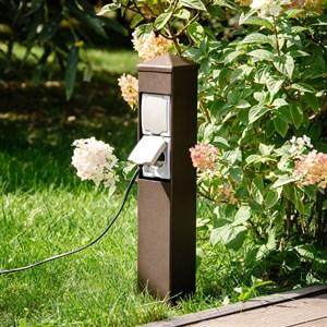 Розетка садовая средняя на две розетки металл 54-701
