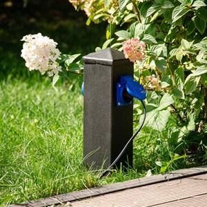 Розетка садовая низкая на две розетки металл 54-706