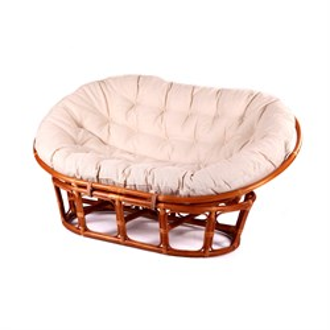 Диван Мамасан M110-2 ротанг натуральный (каркас медовый, подушка бежевая) Garden story