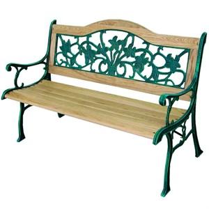 Лавочка садовая с чугунным каркасом и деревянным сиденьем G397