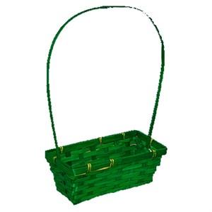 Корзина плетеная бамбук 22*11,5см зеленый