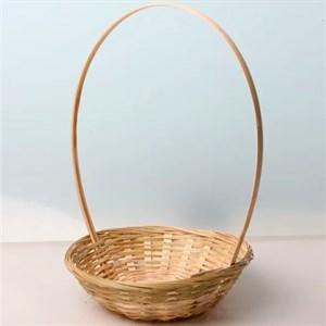 Корзина плетеная бамбук 19*5см беж 3586