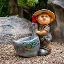 Кашпо мальчик с гусем - фото 61131